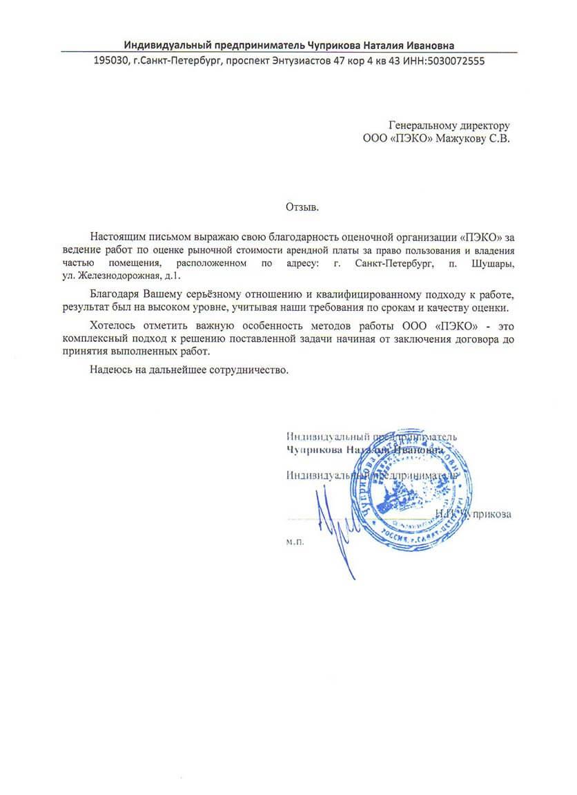 Отзыв от ИП Чуприкова