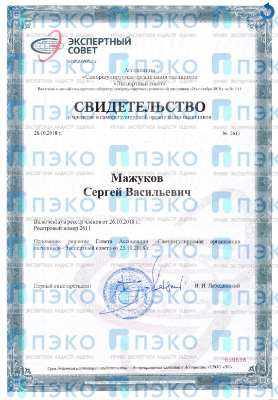 Свидетельство о членстве в саморегулируемой организации оценщиков 7